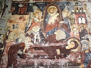 Affresco della Dormizione della Madre di Dio presso il Monastero di Santa Maria del Rogato in Alcara Li Fusi (ME).